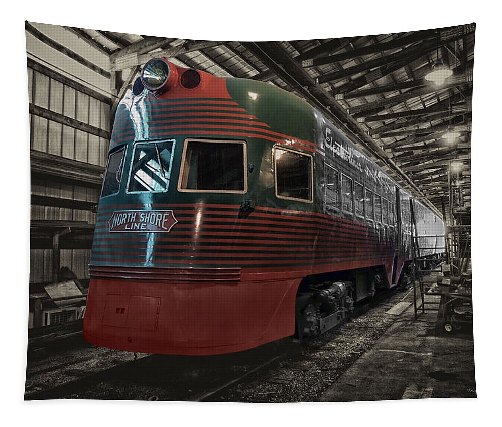 Passenger Tapestry featuring the mixed media Trains North Shore Line Electroliner Sc by Thomas Woolworth