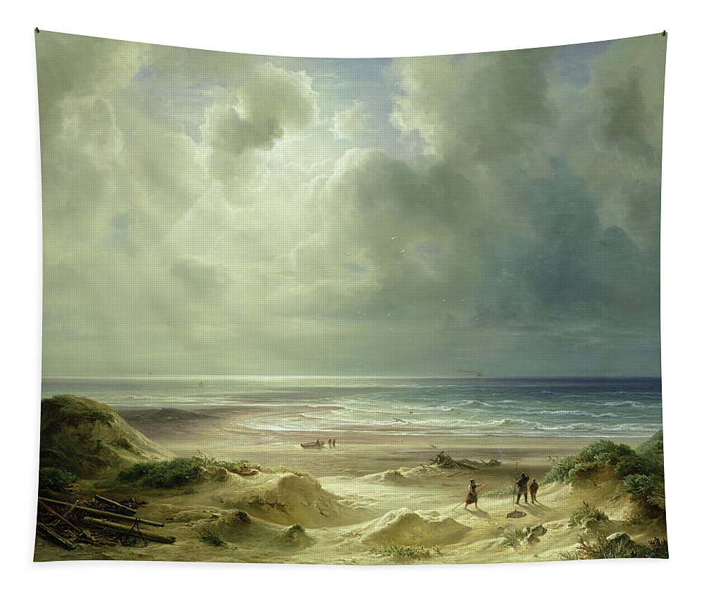 Dune By Hegoland Tapestry featuring the painting Tranquil Sea by Carl Morgenstern
