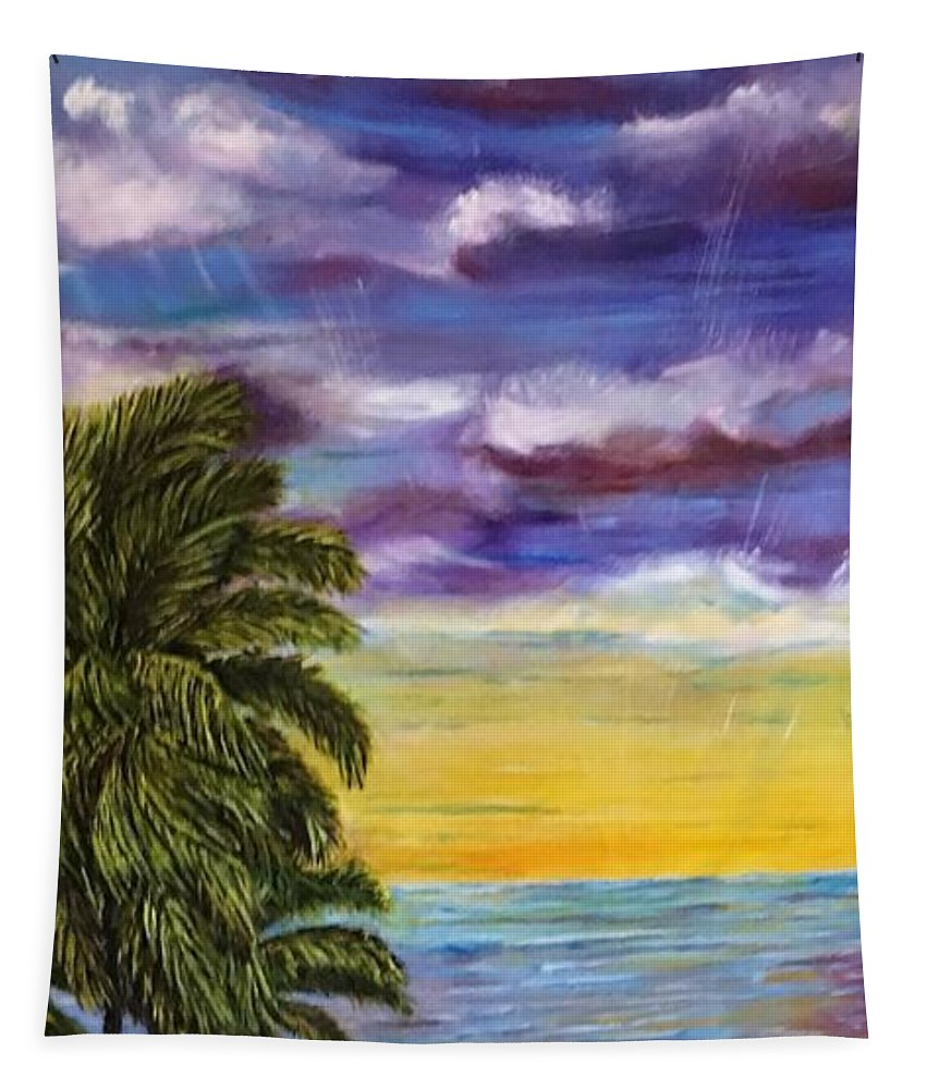 Tranquility Beach Tapestry featuring the painting Tranquility At Kapoho Last Sunset by Michael Silbaugh