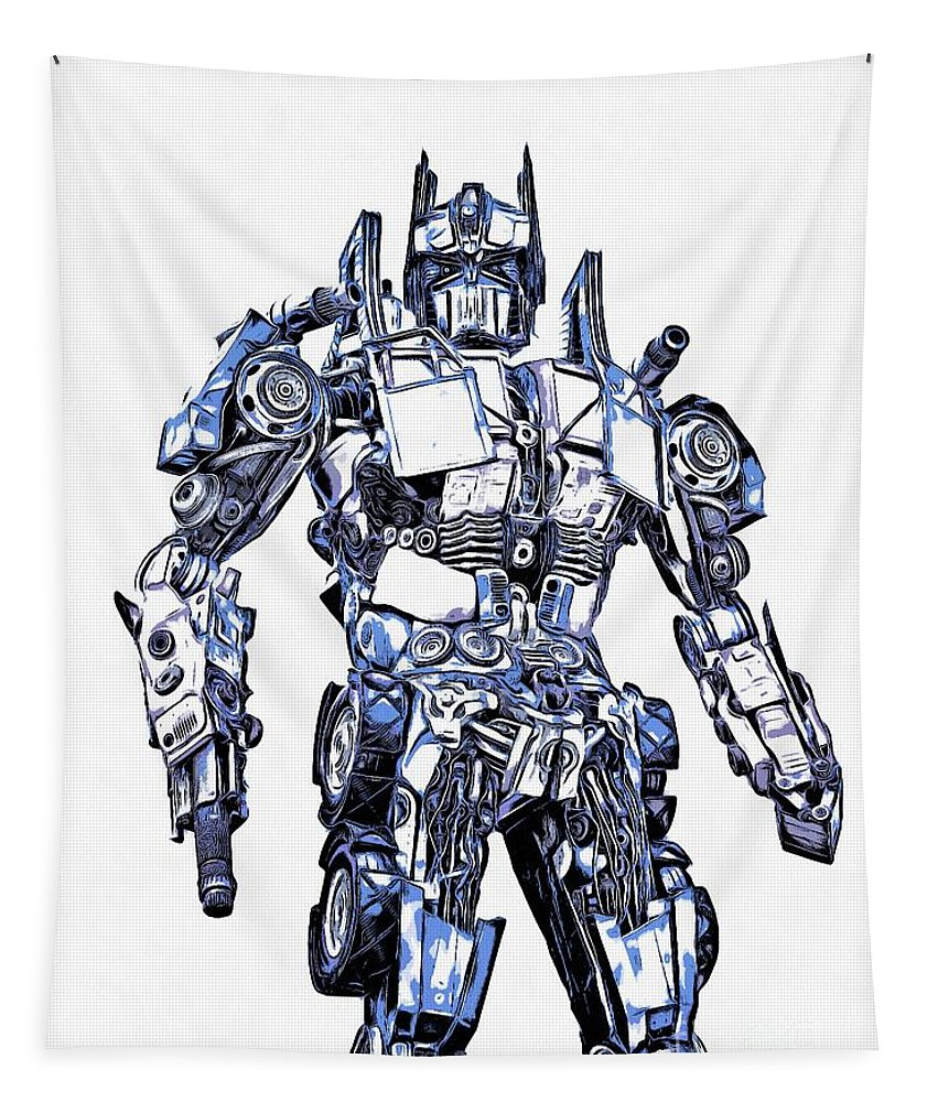 Optimus Prime Tapestry featuring the digital art Transformers Optimus Prime Or Orion Pax Graphic by Edward Fielding
