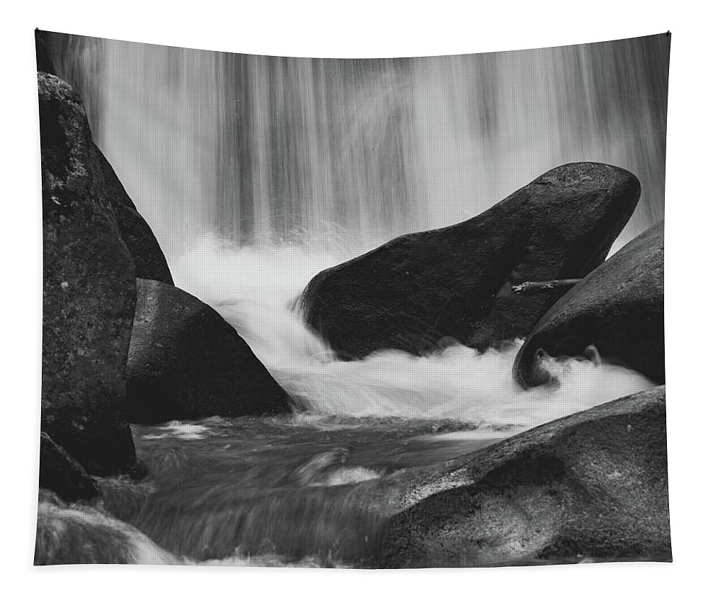 Waterfall Tapestry featuring the photograph Trap Falls In Ashby Ma Black And White 6 by Michael Saunders