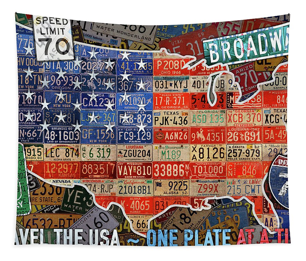 Travel The Usa Tapestry featuring the mixed media Travel The Usa One Plate At A Time License Plate Art By Design Turnpike by Design Turnpike