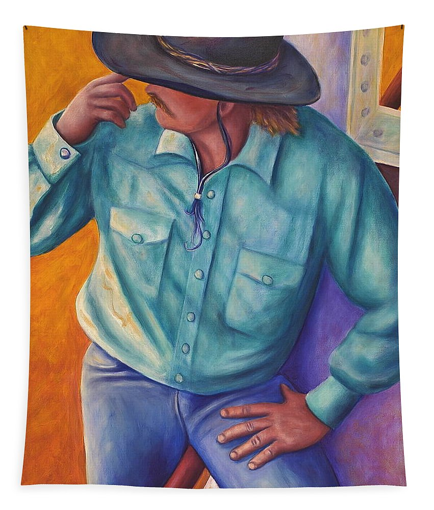 Cowboy Tapestry featuring the painting Travelin Man by Shannon Grissom