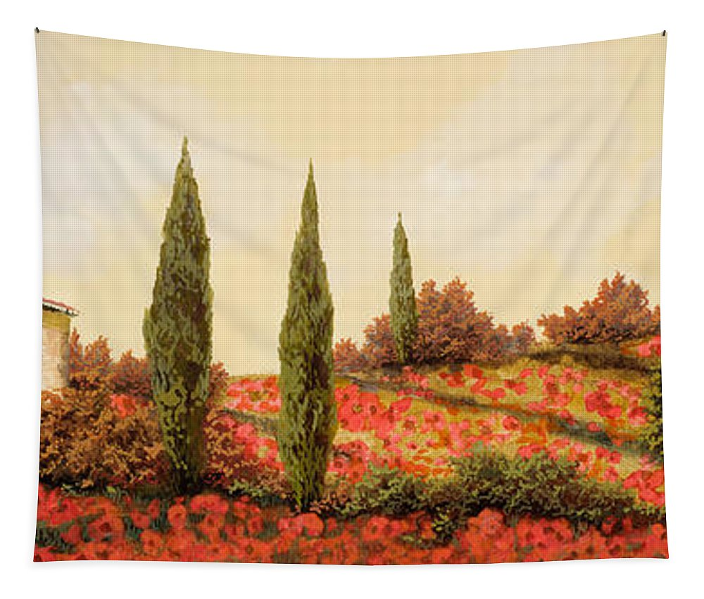 Landscape Tapestry featuring the painting Tre Case Tra I Papaveri Rossi by Guido Borelli
