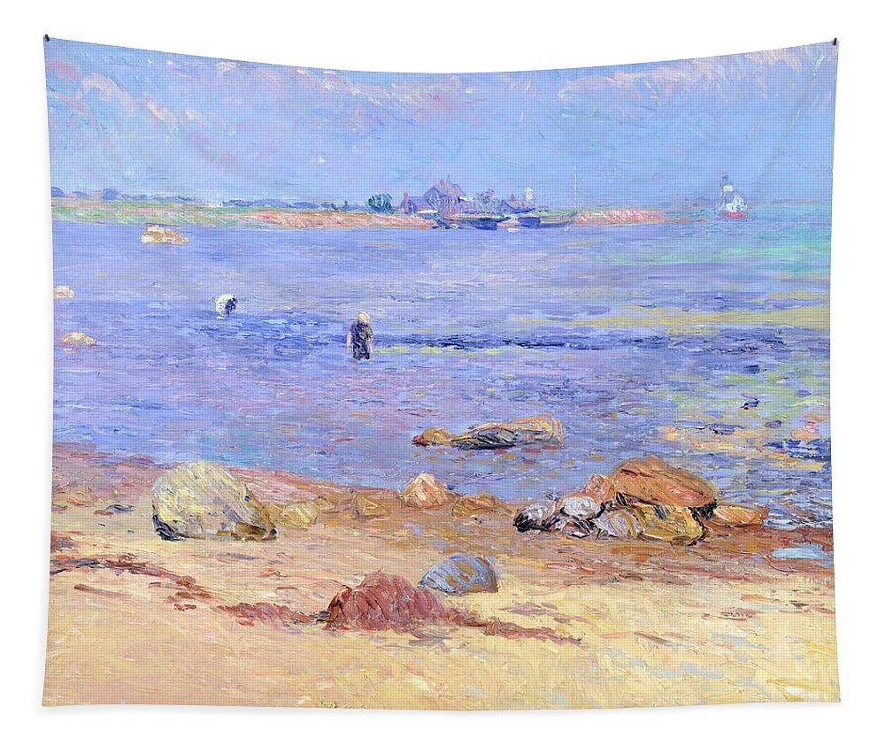 Treading Tapestry featuring the painting Treading Clams At Wickford by William James Glackens