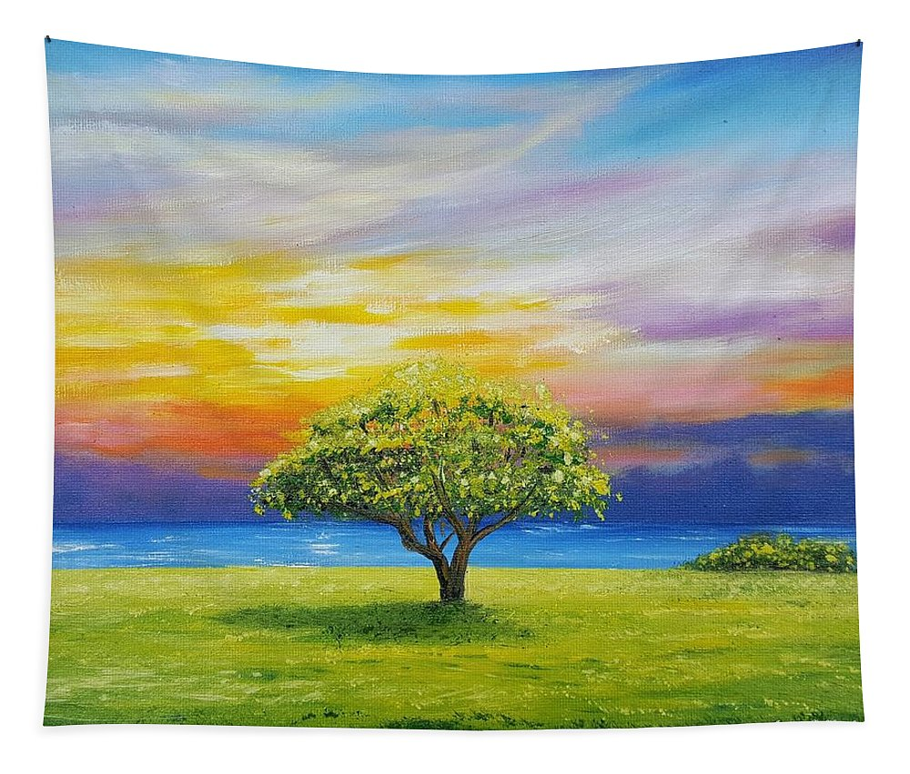 Tree Tapestry featuring the painting Tree By The Beach by Jessica T Hamilton