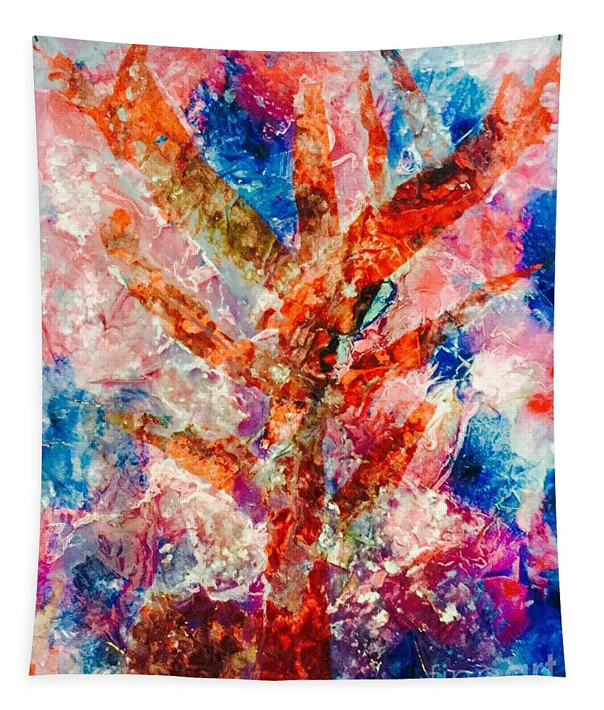 Abstract Tapestry featuring the painting Tree Of Dreams by Elle Justine