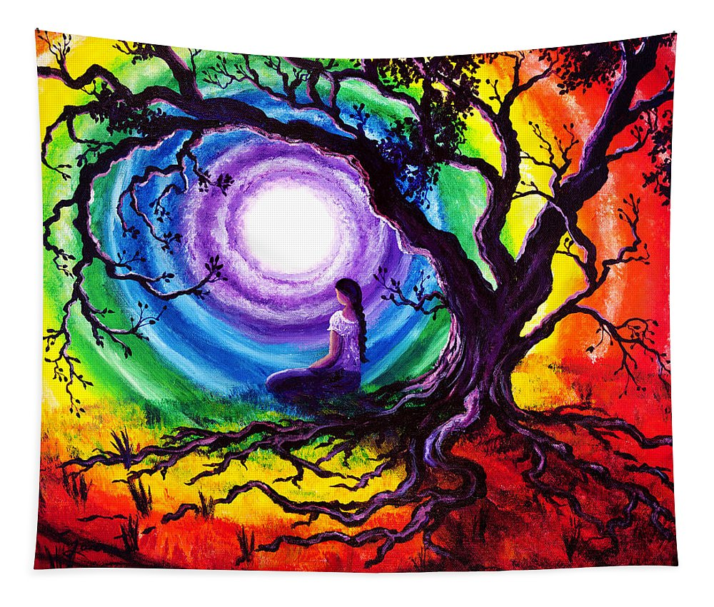 Gypsy Tapestry featuring the painting Tree of Life Meditation by Laura Iverson