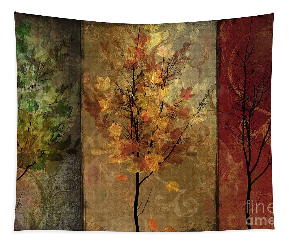 Trees Tapestry featuring the painting Tree Story by Mindy Sommers