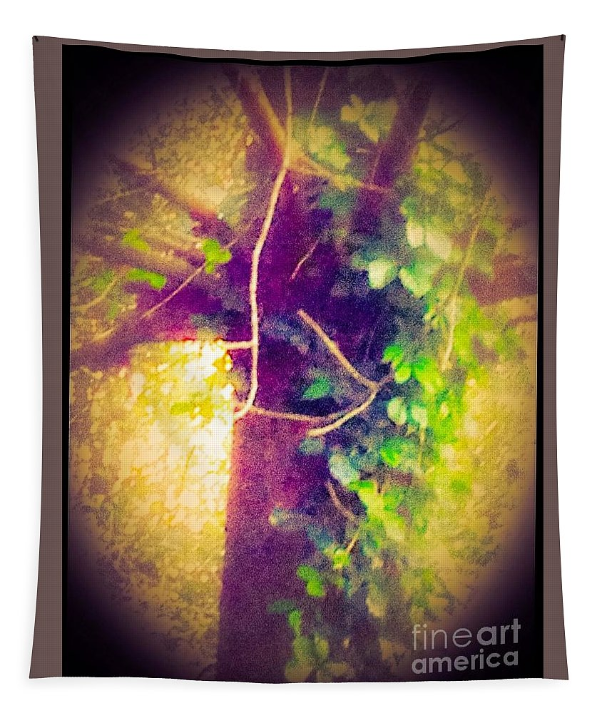Tree Tapestry featuring the digital art Tree With Vine by Debra Lynch