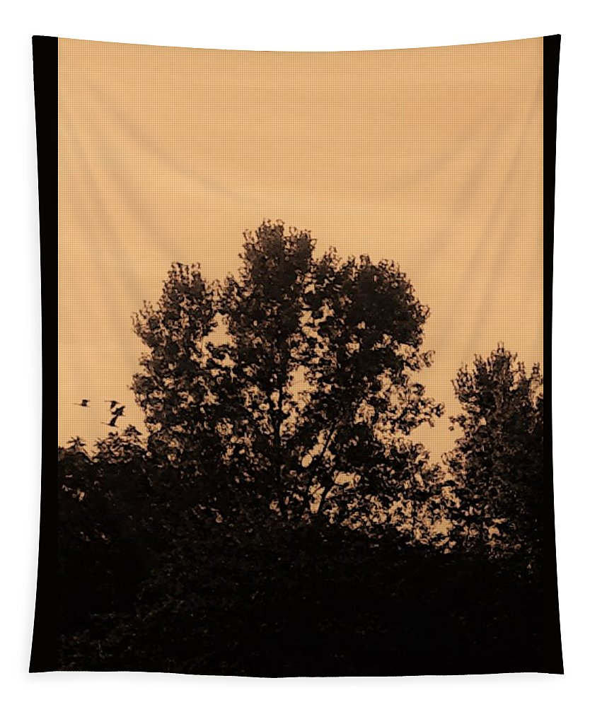 Sepia Tapestry featuring the photograph Trees And Geese In Sepia Tone by Debra Lynch