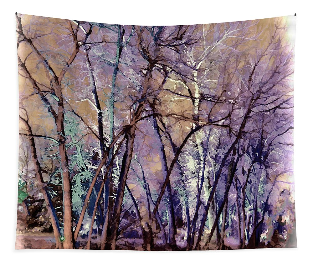 Abstract Trees Tapestry featuring the digital art Trees Are Poems That The Earth Writes Upon The Sky by OLena Art Brand