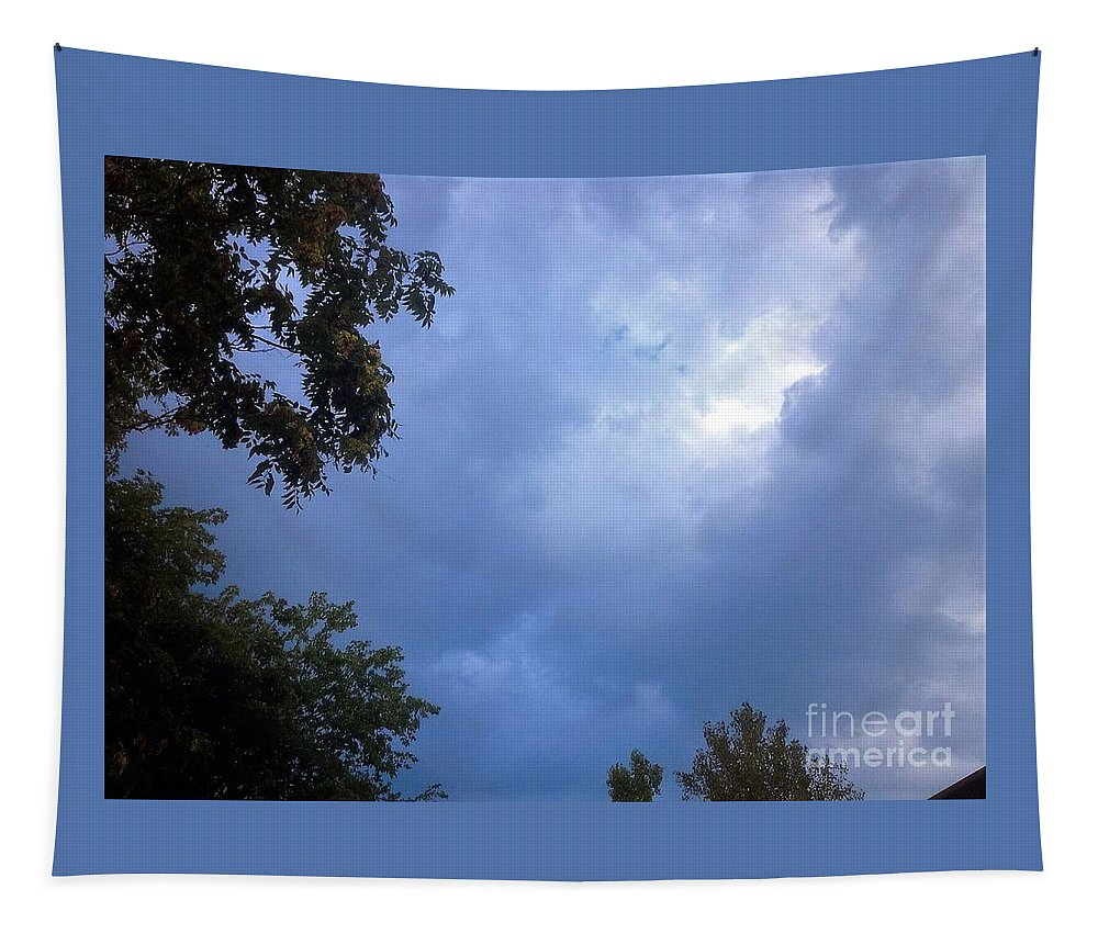 Trees. Sky Tapestry featuring the photograph Trees Beneath Beautiful Summer Sky by Debra Lynch