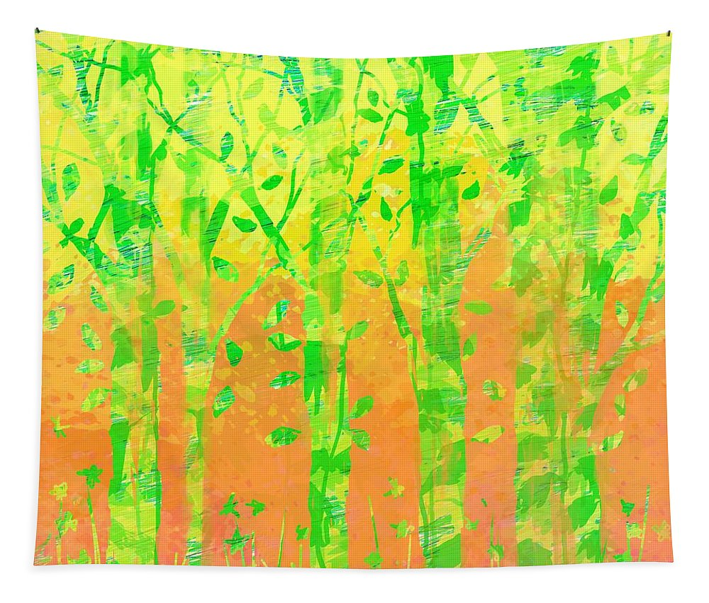 Abstract Tapestry featuring the digital art Trees in the Grass by William Russell Nowicki