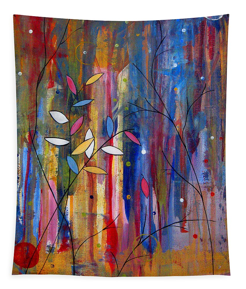 Abstract Tapestry featuring the painting Tres Jolie by Ruth Palmer
