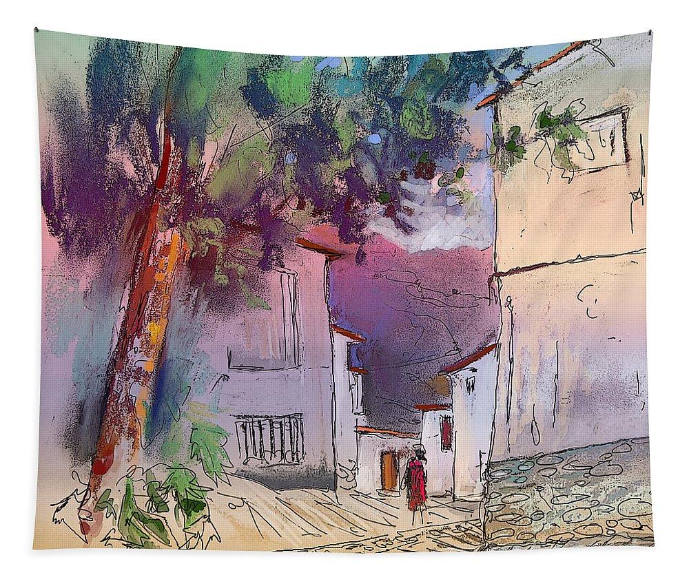 Trevelez. Sierra Nevada Tapestry featuring the painting Trevelez 05 by Miki De Goodaboom