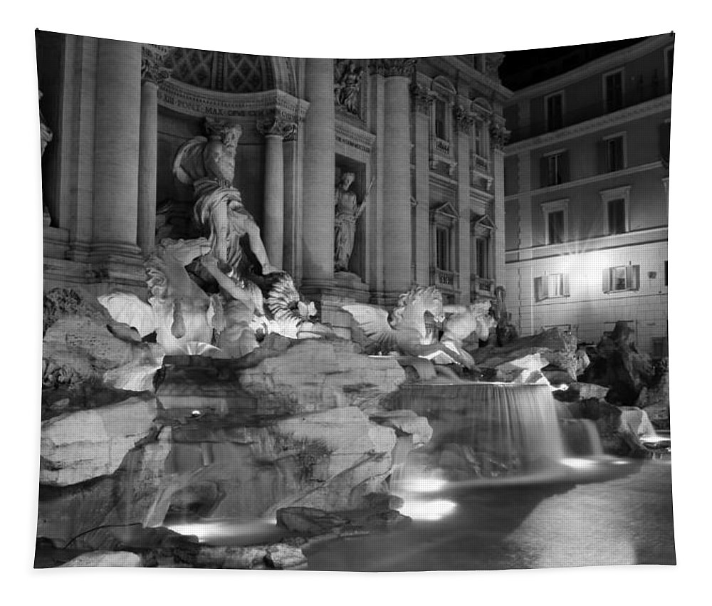 Trevi Fountain Tapestry featuring the photograph Trevi Fountain Night 2 by Andrew Fare