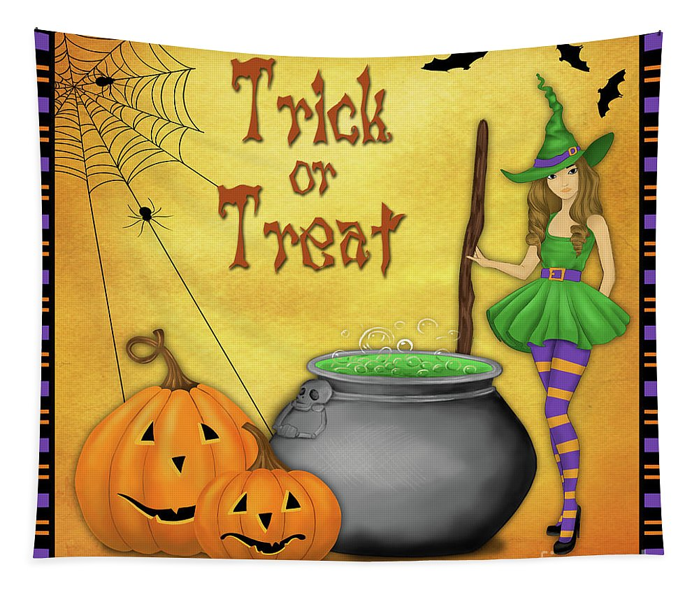 Halloween Tapestry featuring the digital art Trick Or Treat by Jean Plout