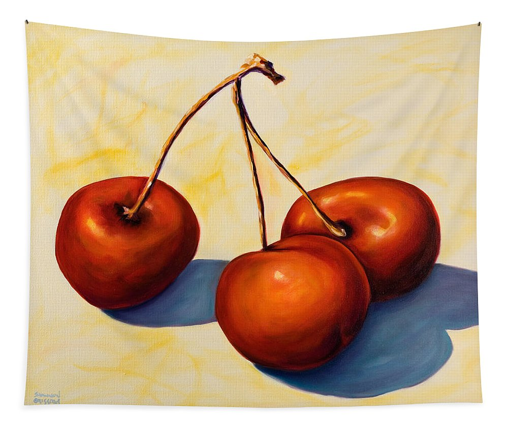 Cherries Tapestry featuring the painting Trilogy by Shannon Grissom