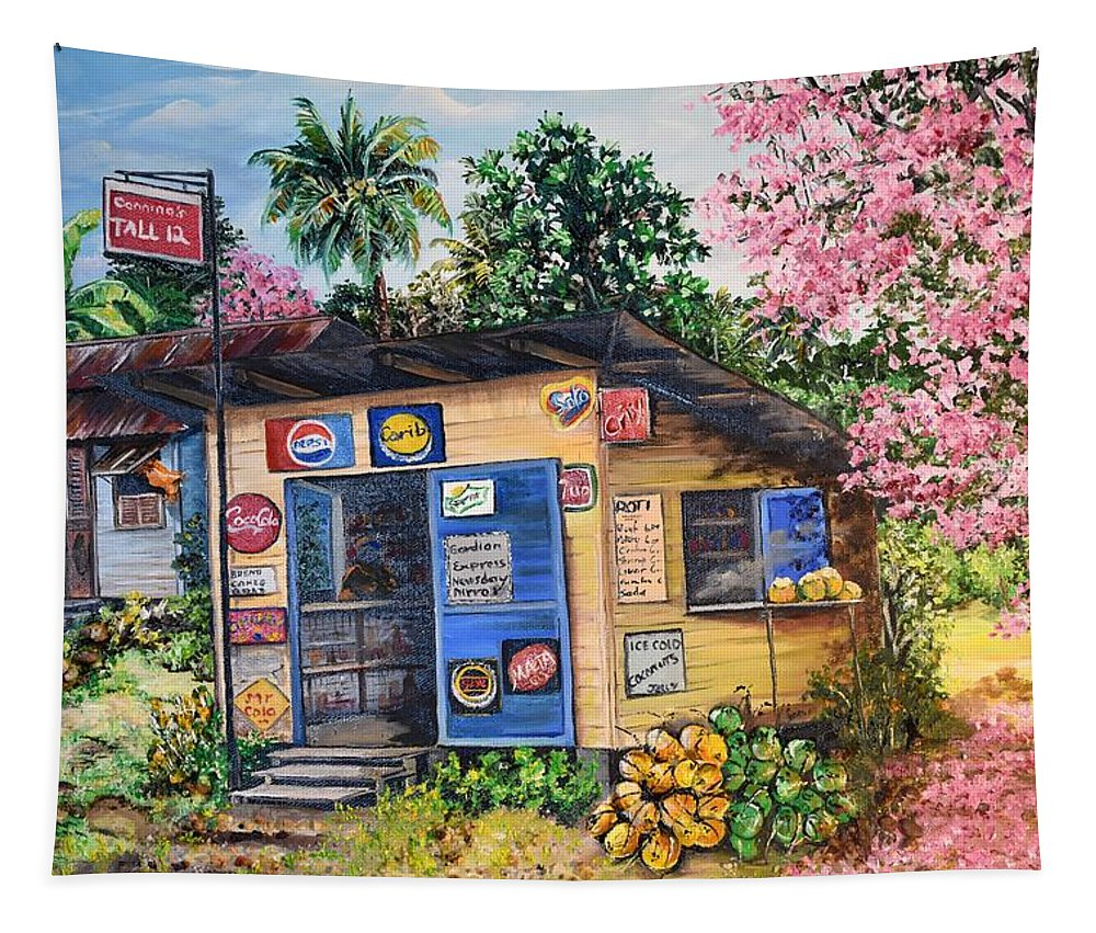 Trinidad And Tobago Shop Tapestry featuring the painting Trinidad Country Parlour by Karin Dawn Kelshall- Best