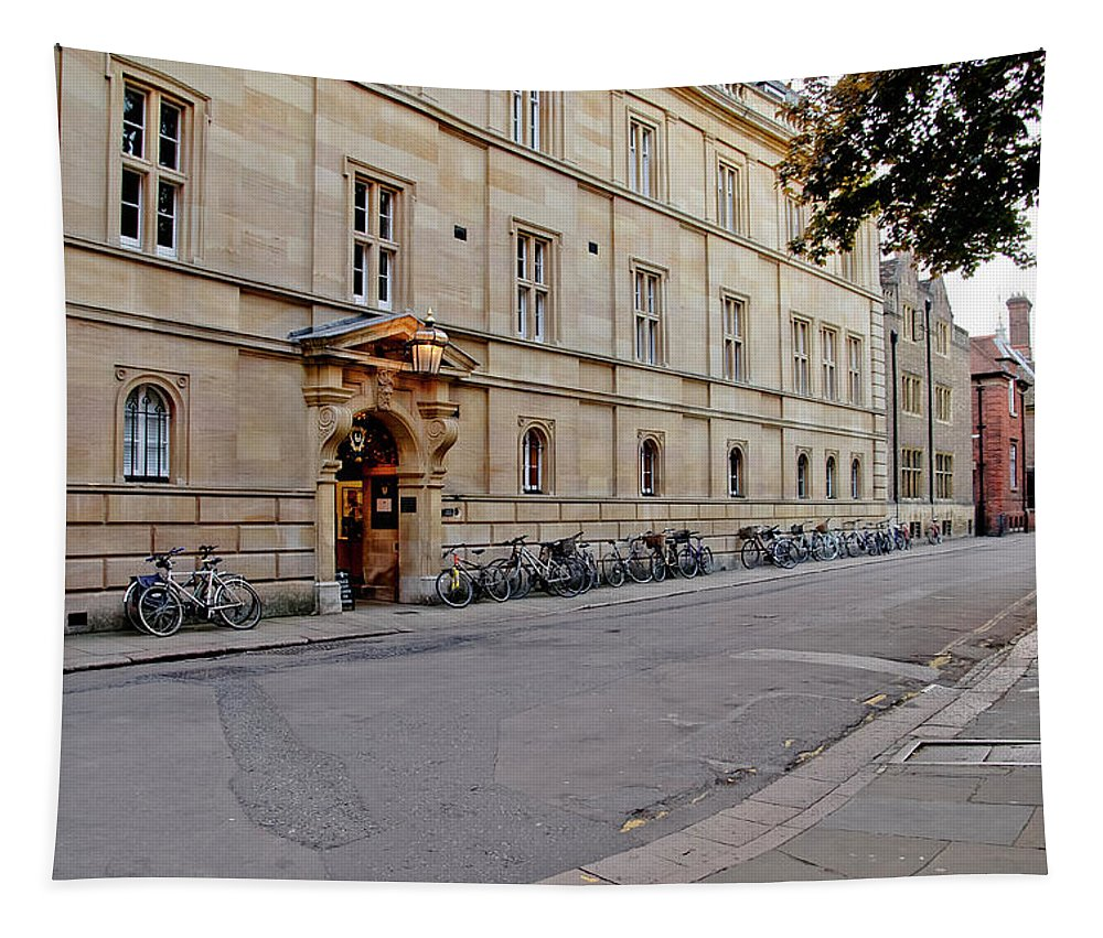 Cambridge Tapestry featuring the photograph Trinity Hall In The Evening. Cambridge. by Elena Perelman