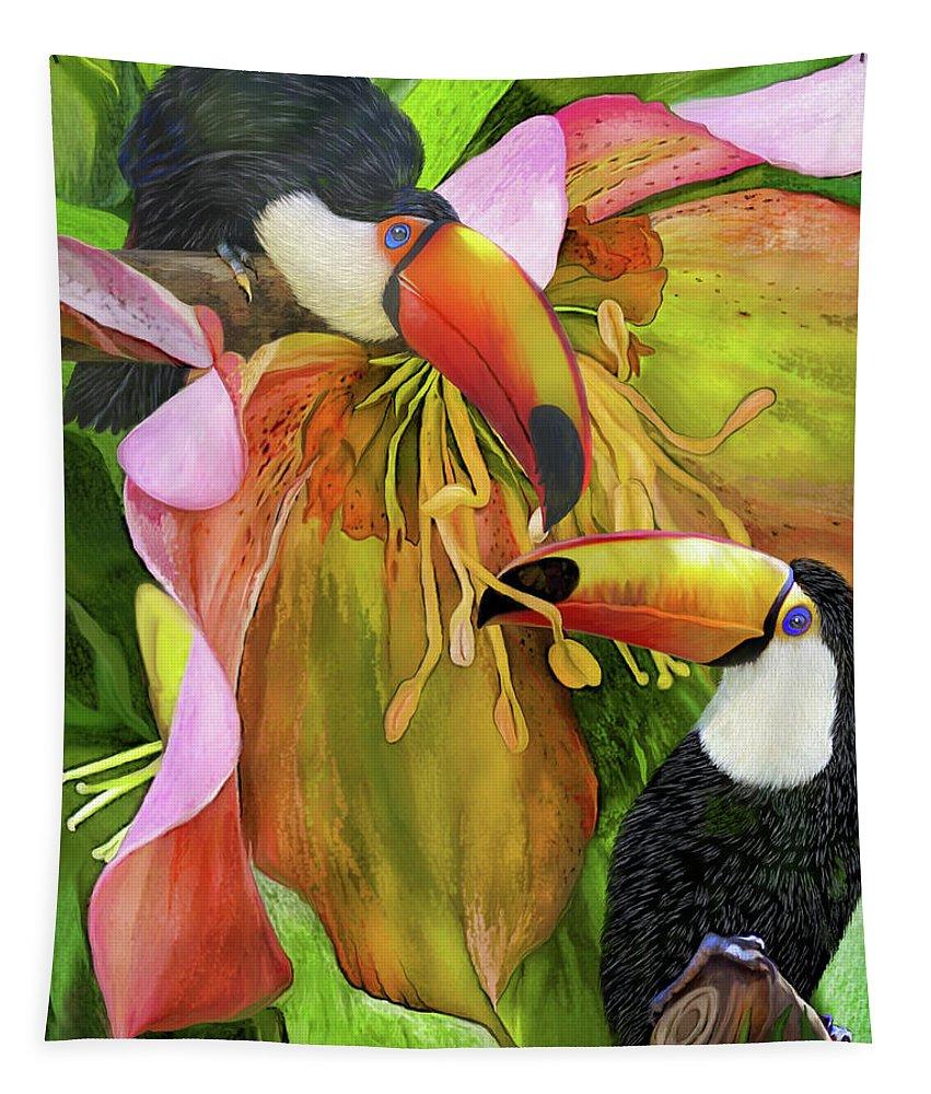 Carol Cavalaris Tapestry featuring the mixed media Tropic Spirits - Toco Toucans by Carol Cavalaris