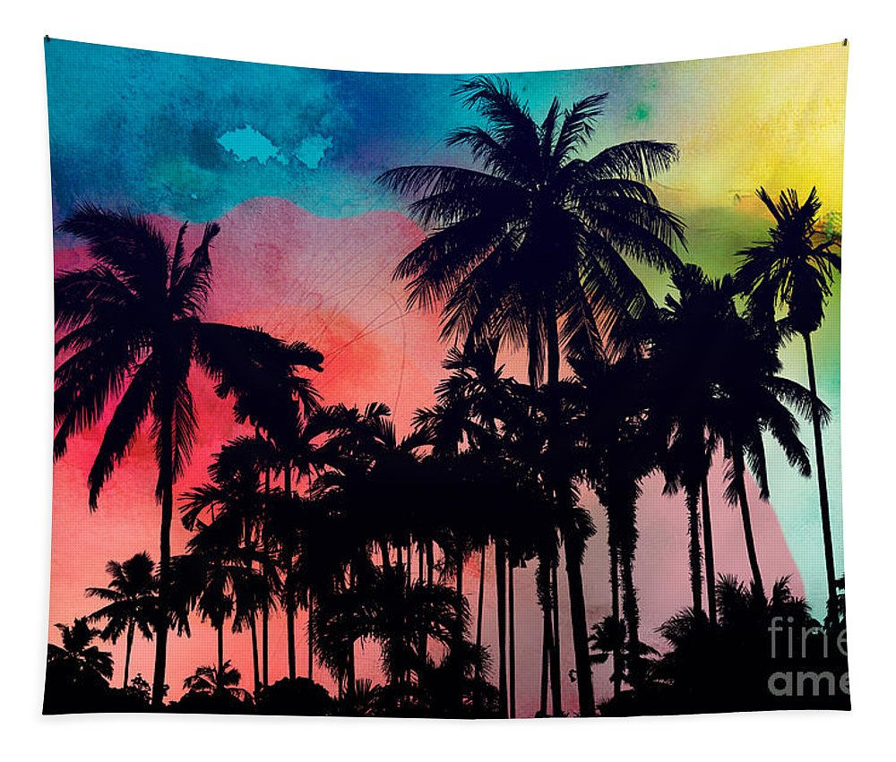 Tapestry featuring the painting Tropical Colors by Mark Ashkenazi