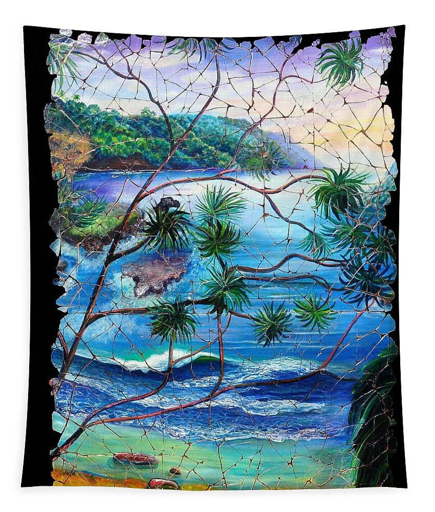Tropical Cove Set Tapestry featuring the painting Tropical Cove Fresco Triptych 2 by OLena Art Brand