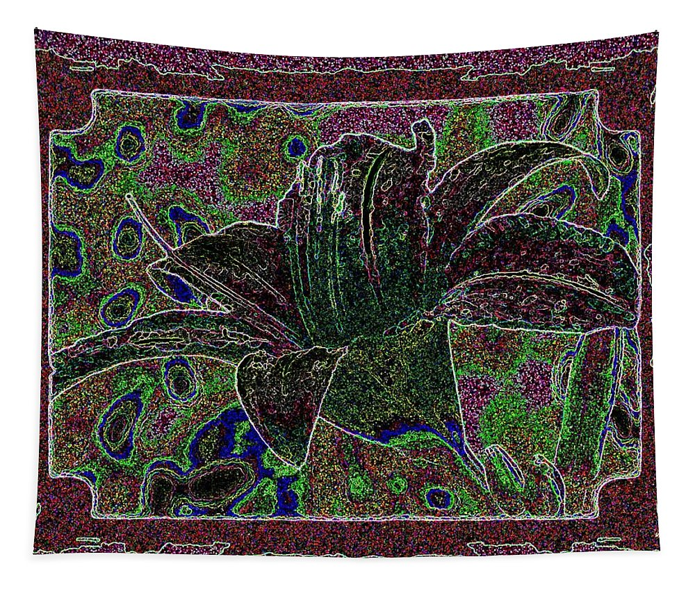 Tropical Lily 3 Tapestry featuring the digital art Tropical Lily 3 by Will Borden