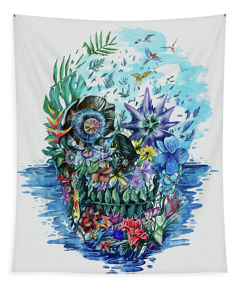 Skull Tapestry featuring the painting Tropical Skull 2 by Bekim Art
