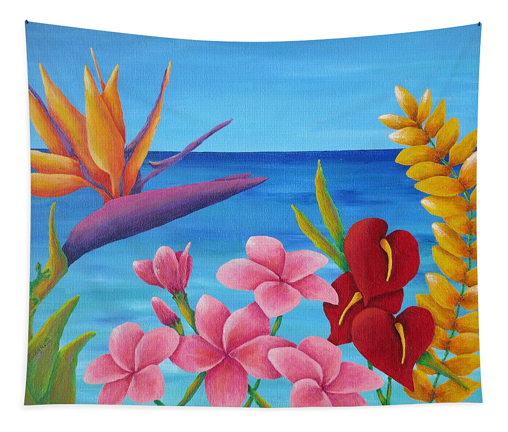 Allegretto Art Tapestry featuring the painting Tropical View by Pamela Allegretto