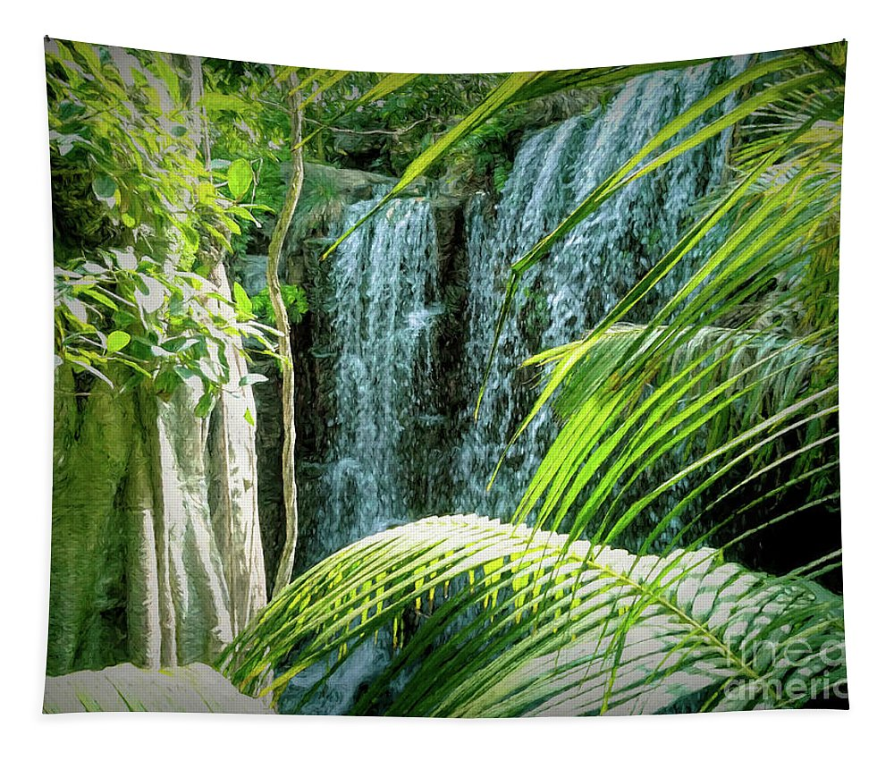 Waterfall Tapestry featuring the digital art Tropical Waterfall by Elisabeth Lucas