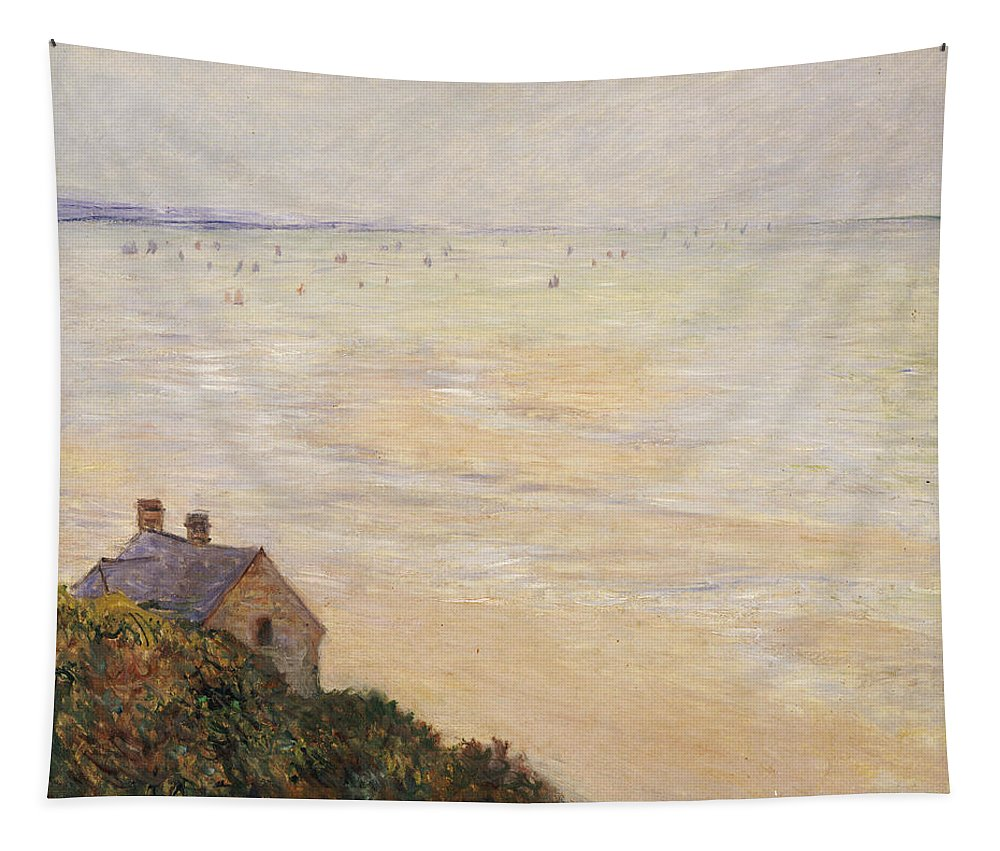 French Tapestry featuring the painting Trouville At Low Tide by Claude Monet