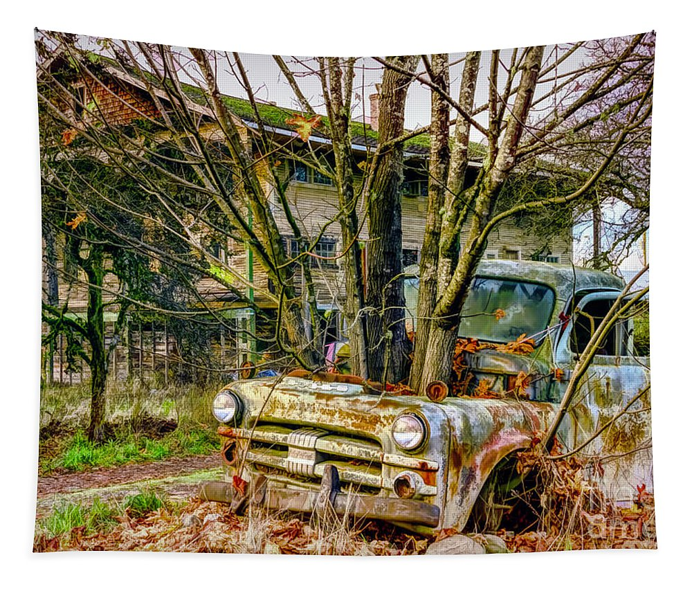 Antique Tapestry featuring the photograph Truck N Tree by Jean OKeeffe Macro Abundance Art