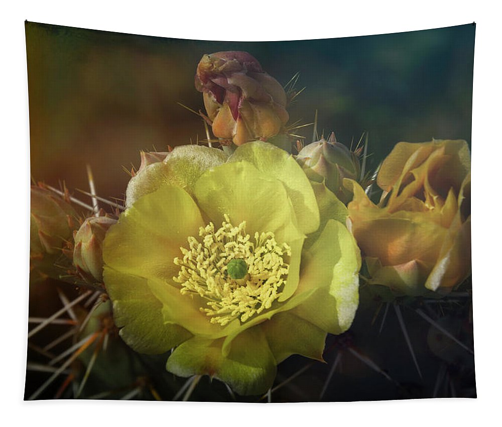 Golden Prickly Pear Cactus Tapestry featuring the photograph True Golden Beauty by Saija Lehtonen