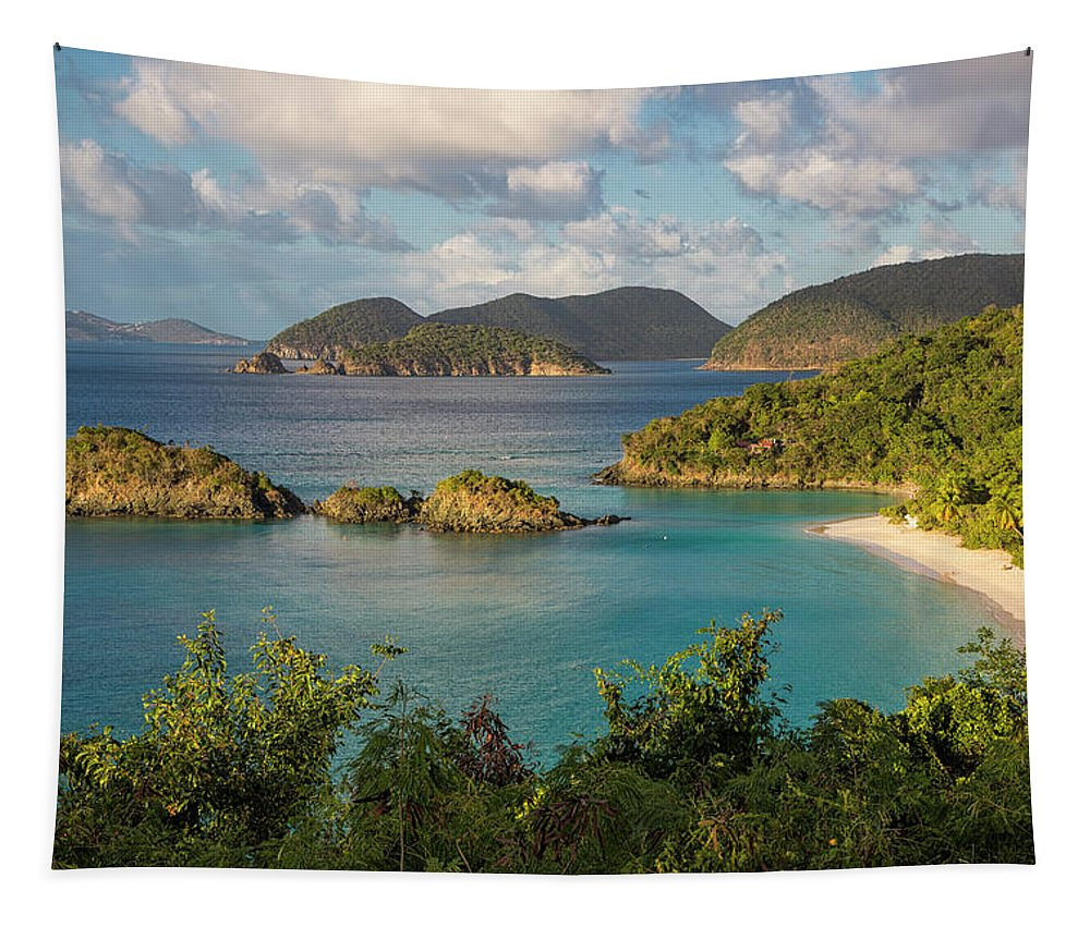 3scape Tapestry featuring the photograph Trunk Bay Morning by Adam Romanowicz