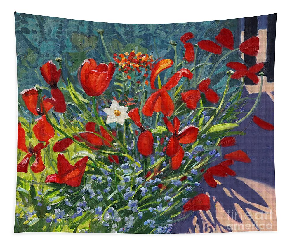 Red Tapestry featuring the painting Tulips By The Gate by Andrew Macara