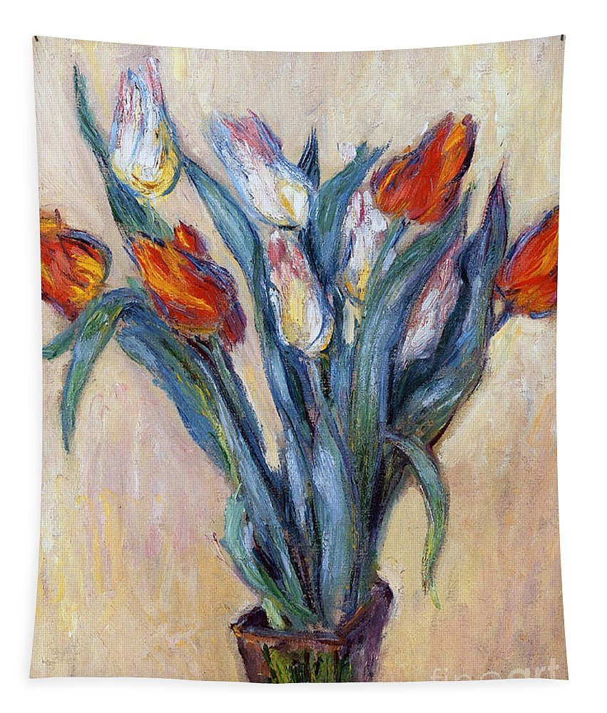 Tulips Tapestry featuring the painting Tulips by Claude Monet