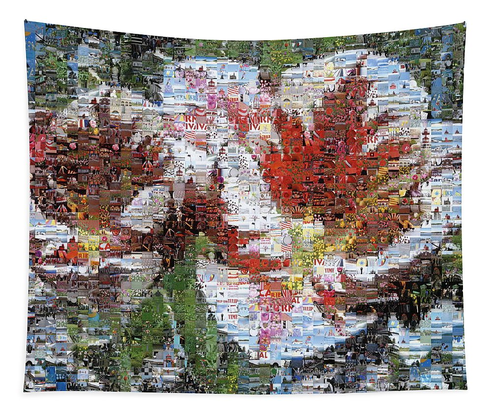 Lighthouse Tapestry featuring the photograph Tulips in Springtime Photomosaic by Michelle Calkins