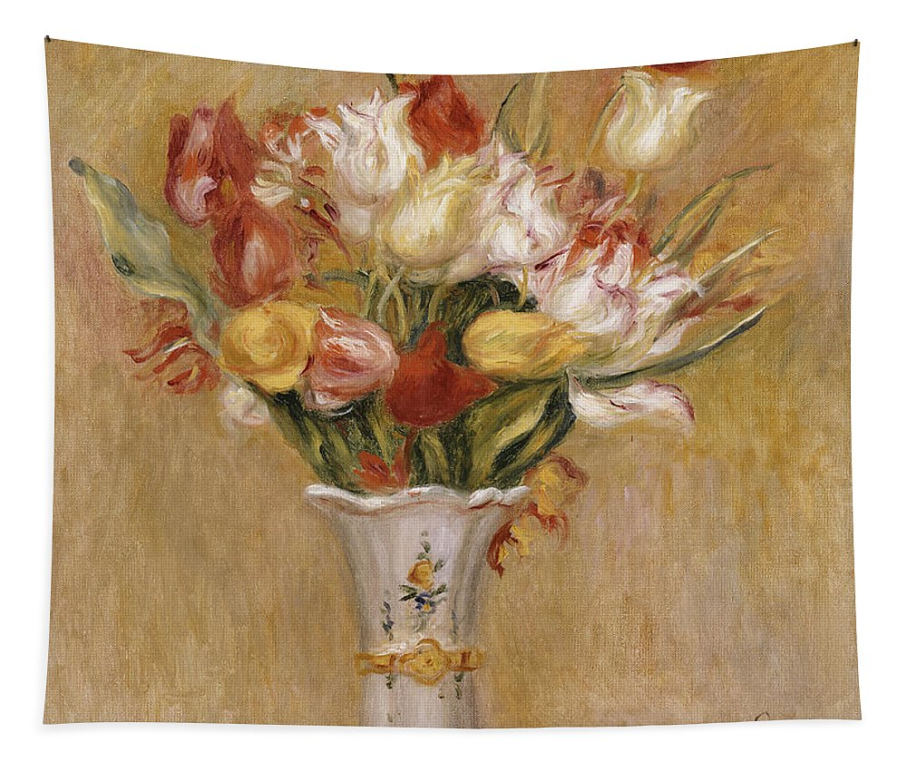 Impressionist; Impressionism; Still Life; Flower; Vase Tapestry featuring the painting Tulips by Pierre Auguste Renoir