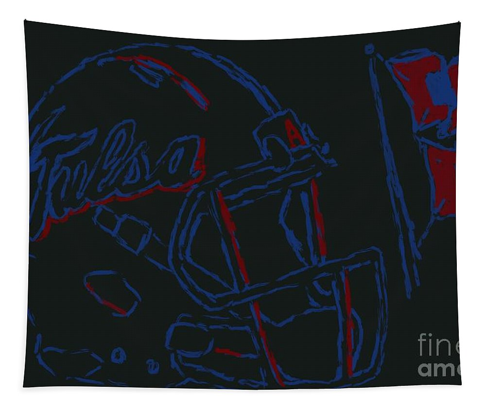 Tapestry featuring the painting Tulsa Hurricane Football by Jack Bunds