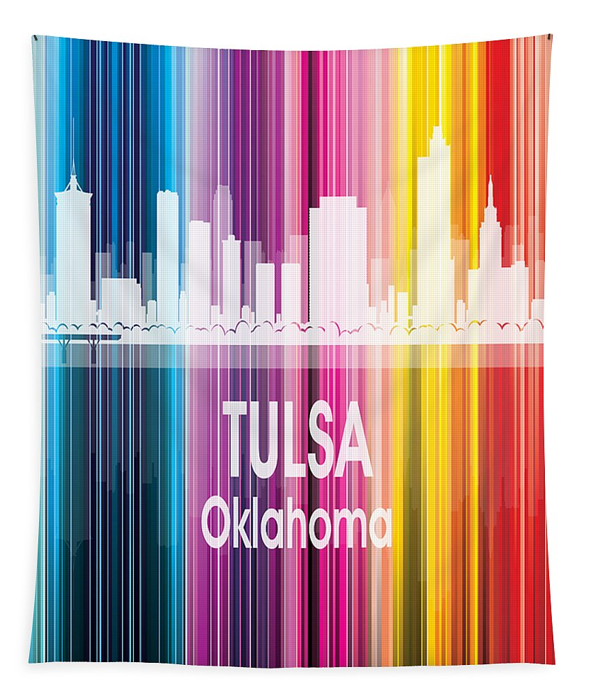 Tulsa Tapestry featuring the digital art Tulsa Ok 2 Vertical by Angelina Tamez