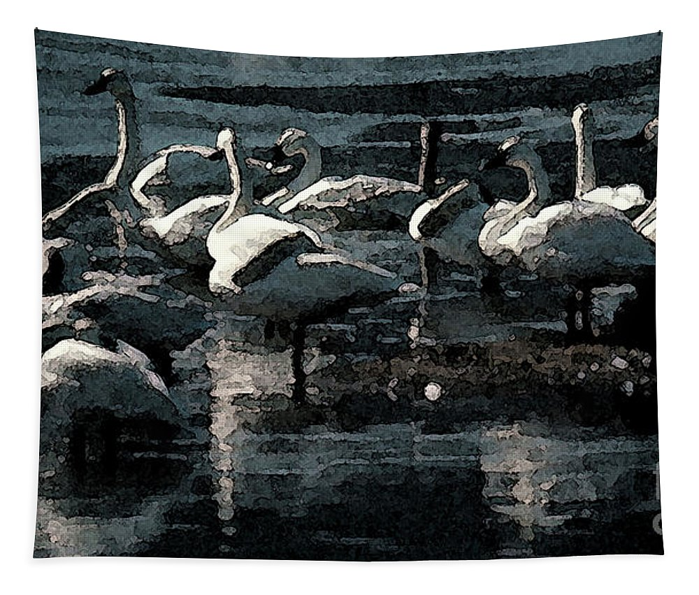 Birds Tapestry featuring the photograph Tundra Swans by Donna Brown