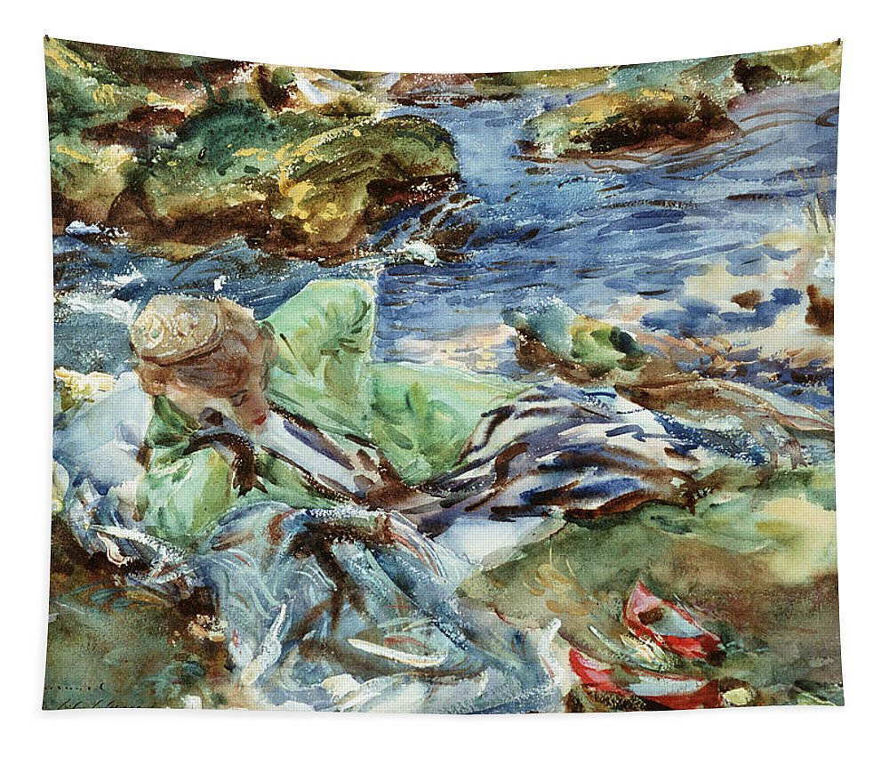 Turkish Tapestry featuring the painting Turkish Woman By A Stream by John Singer Sargent