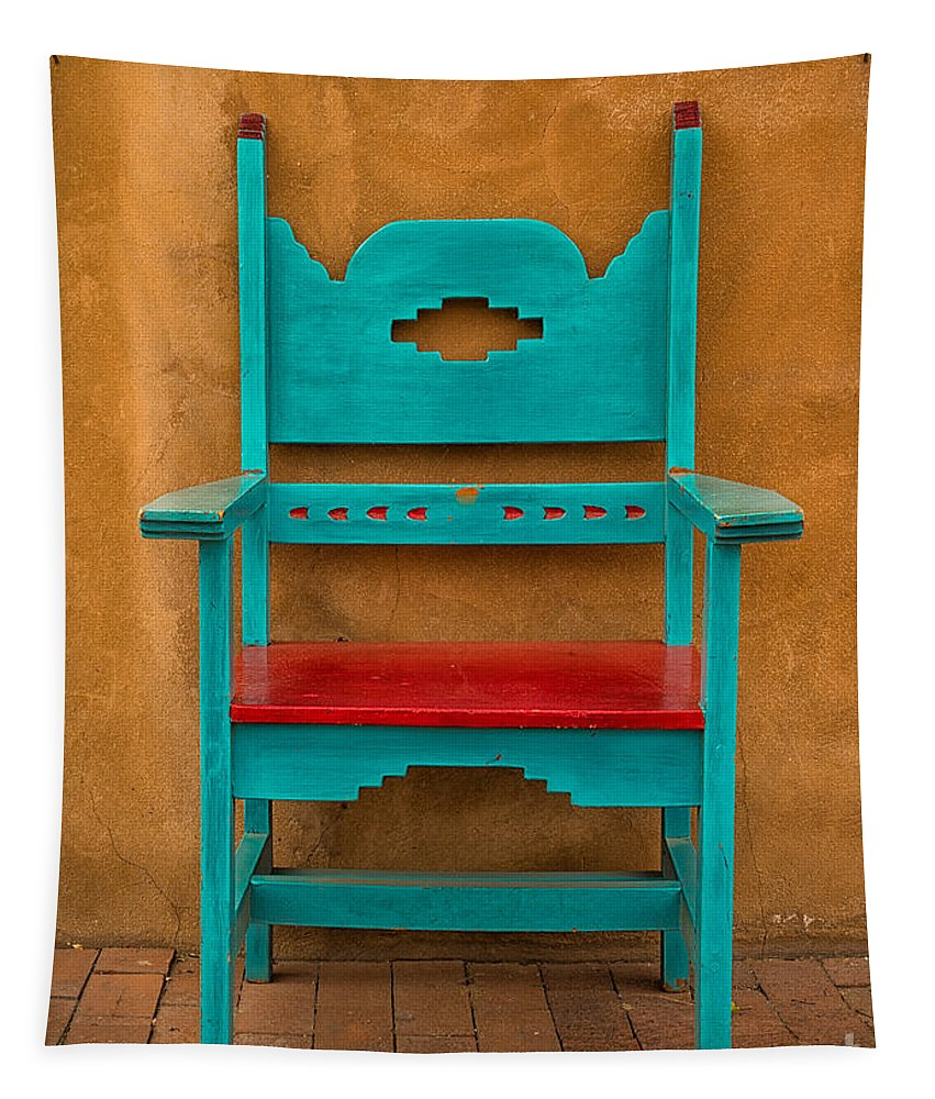 Adobe Tapestry featuring the photograph Turquoise And Red Chair by Jerry Fornarotto