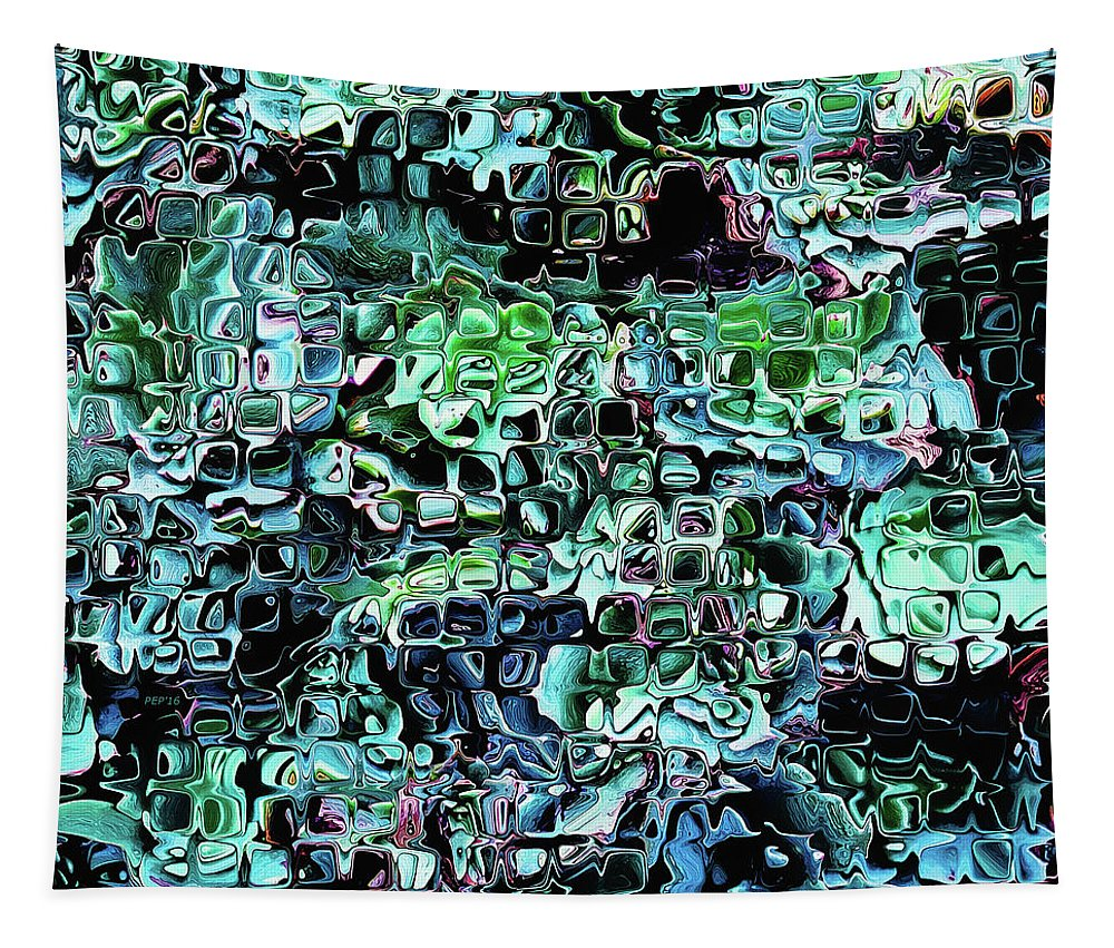 Glass Blocks Tapestry featuring the digital art Turquoise Garden Of Glass by Phil Perkins