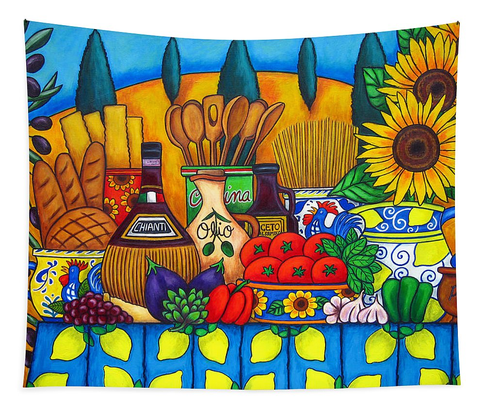Still Life Tapestry featuring the painting Tuscany Delights by Lisa Lorenz