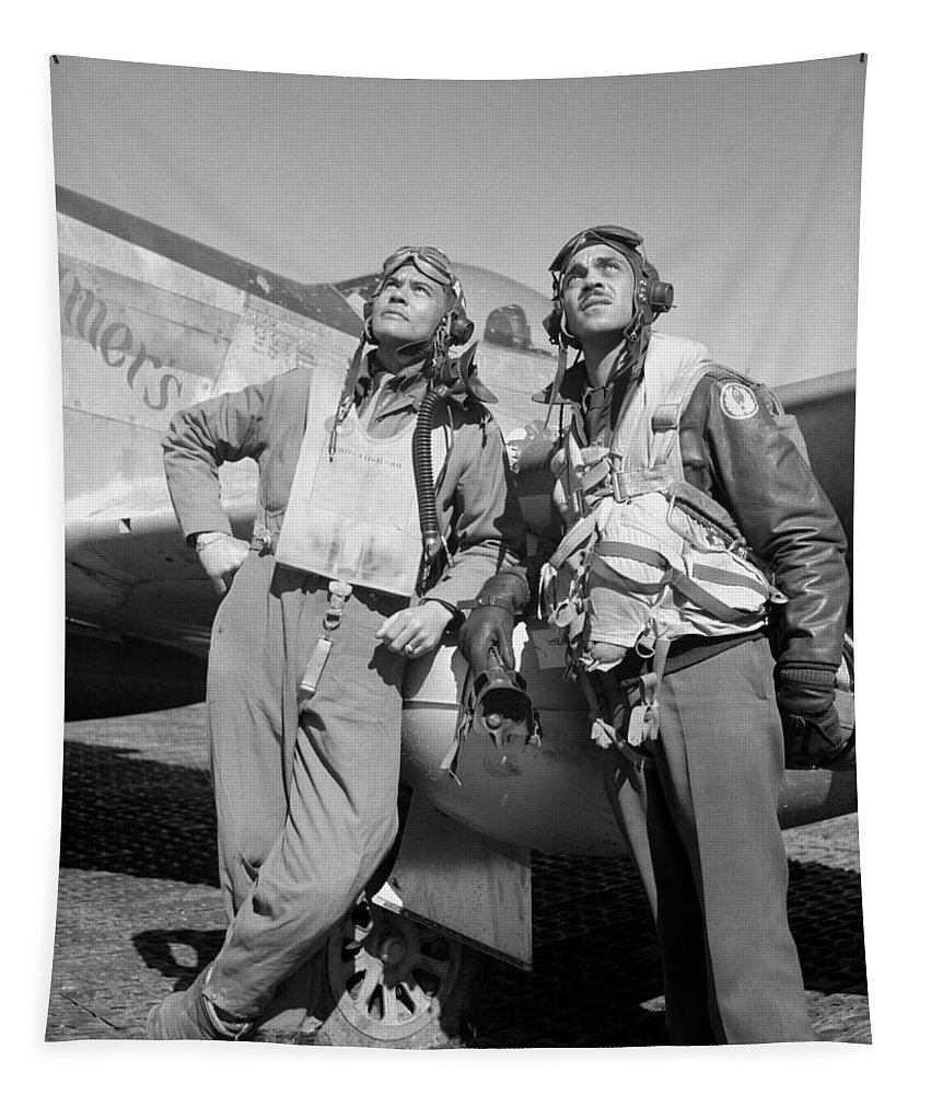 Benjamin Davis Tapestry featuring the photograph Tuskegee Airmen by War Is Hell Store