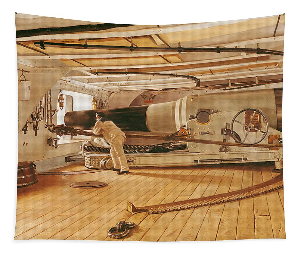Twenty-seven Tapestry featuring the painting Twenty-seven Pound Cannon On A Battleship by Gustave Bourgain