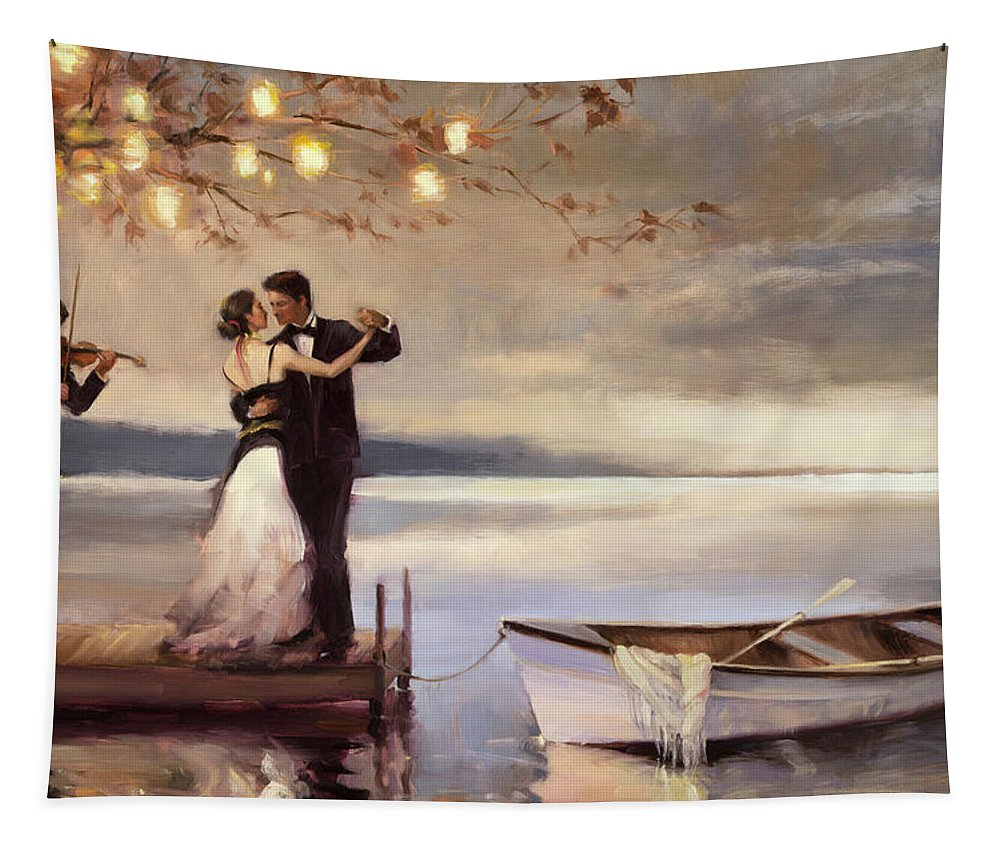 Romantic Tapestry featuring the painting Twilight Romance by Steve Henderson